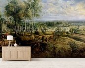 An Autumn Landscape with a view of Het Steen in the Early Morning, c.1636 (oil on panel) mural wallpaper living room preview