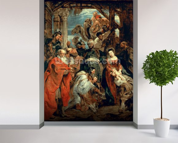 Adoration of the Magi, 1624 (oil on panel) wallpaper mural room setting