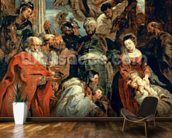 Adoration of the Magi, 1624 (oil on panel) wallpaper mural kitchen preview