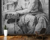 The Cumaean Sibyl, after Michangelo Buonarroti (1475-1564) (pierre noire & red chalk on paper) mural wallpaper kitchen preview