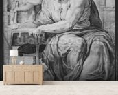 The Cumaean Sibyl, after Michangelo Buonarroti (1475-1564) (pierre noire & red chalk on paper) mural wallpaper living room preview