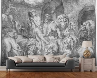 Daniel in the lions den (engraving) (b/w photo) wall mural