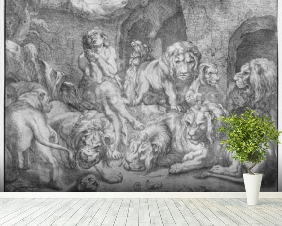 Daniel in the lions den (engraving) (b/w photo) wall mural room setting