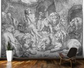 Daniel in the lions den (engraving) (b/w photo) wall mural kitchen preview