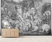 Daniel in the lions den (engraving) (b/w photo) wall mural living room preview