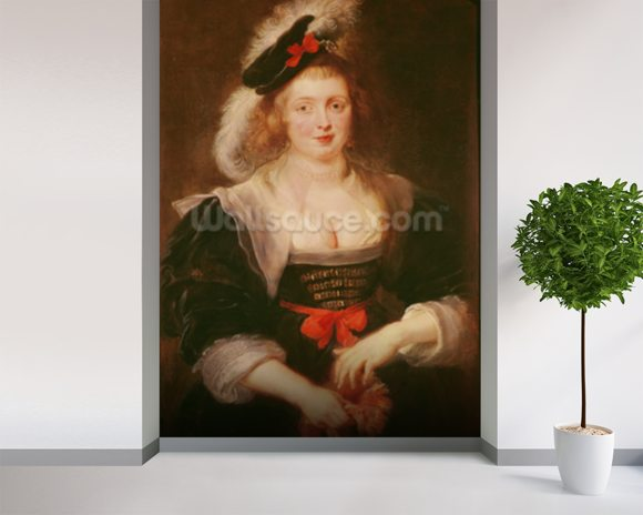 Portrait of Helene Fourment with gloves, c.1632 (oil on panel) mural wallpaper room setting