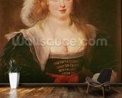 Portrait of Helene Fourment with gloves, c.1632 (oil on panel) mural wallpaper kitchen preview