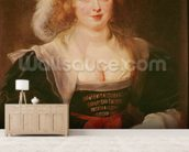 Portrait of Helene Fourment with gloves, c.1632 (oil on panel) mural wallpaper living room preview