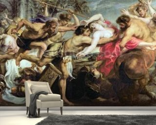 Lapiths and Centaurs (oil on canvas) mural wallpaper