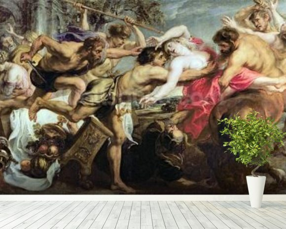Lapiths and Centaurs (oil on canvas) mural wallpaper room setting