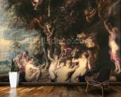 Nymphs and Satyrs, c.1635 (oil on canvas) wallpaper mural kitchen preview