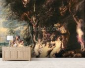 Nymphs and Satyrs, c.1635 (oil on canvas) wallpaper mural living room preview