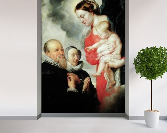 Madonna and Child with the donors Alexandre Goubeau and his wife Anne Antoni (oil on canvas) wallpaper mural room setting
