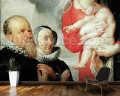 Madonna and Child with the donors Alexandre Goubeau and his wife Anne Antoni (oil on canvas) wallpaper mural kitchen preview