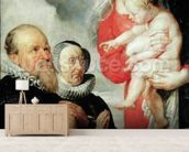 Madonna and Child with the donors Alexandre Goubeau and his wife Anne Antoni (oil on canvas) wallpaper mural living room preview