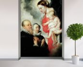 Madonna and Child with the donors Alexandre Goubeau and his wife Anne Antoni (oil on canvas) wallpaper mural in-room view