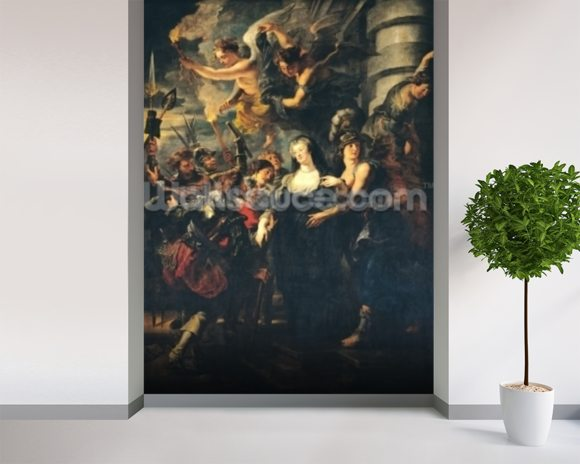 The Medici Cycle: Marie de Medici (1573-1642) Escaping from Blois, 21st-22nd February 1619, 1621-25 (oil on canvas) wallpaper mural room setting