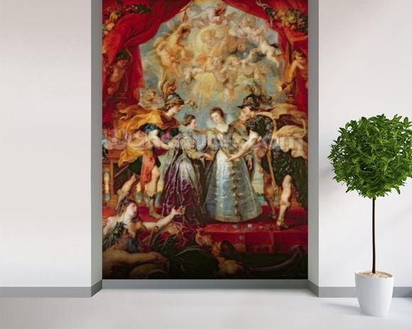 The Medici Cycle: Exchange of the Two Princesses of France and Spain, 9th November 1615, 1621-25 (oil on canvas) wallpaper mural room setting