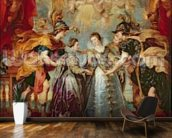 The Medici Cycle: Exchange of the Two Princesses of France and Spain, 9th November 1615, 1621-25 (oil on canvas) wallpaper mural kitchen preview