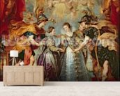 The Medici Cycle: Exchange of the Two Princesses of France and Spain, 9th November 1615, 1621-25 (oil on canvas) wallpaper mural living room preview
