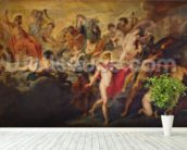 The Medici Cycle: Council of the Gods for the Spanish Marriage, 1621-25 (oil on canvas) wall mural in-room view