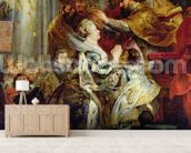 The Medici Cycle: The Coronation of Marie de Medici (1573-1642) at St. Denis, 13th May 1610, detail of the Princesses of Guemenee and Conti, 1621-25 (oil on canvas) mural wallpaper living room preview
