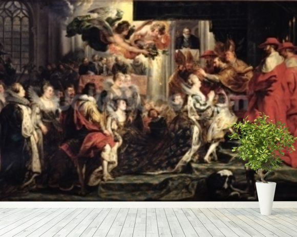 The Coronation of Marie de Medici (1573-1642) at St. Denis, 13th May 1610, 1621-25 (oil on canvas) wallpaper mural room setting