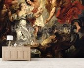 The Reconciliation of Marie de Medici and her son, 15th December 1621, 1621-25 (oil on canvas) mural wallpaper living room preview