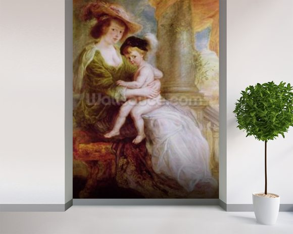 Helene Fourment (1614-73) and her son Frans (oil on panel) wall mural room setting