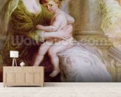 Helene Fourment (1614-73) and her son Frans (oil on panel) wall mural living room preview