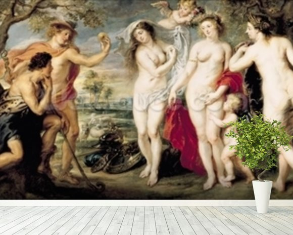 The Judgement of Paris, 1639 (oil on canvas) wallpaper mural room setting