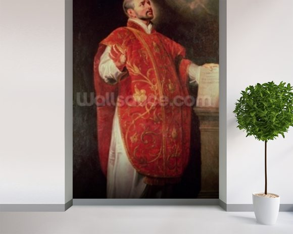 St. Ignatius of Loyola (1491-1556) Founder of the Jesuits (oil on canvas) wallpaper mural room setting