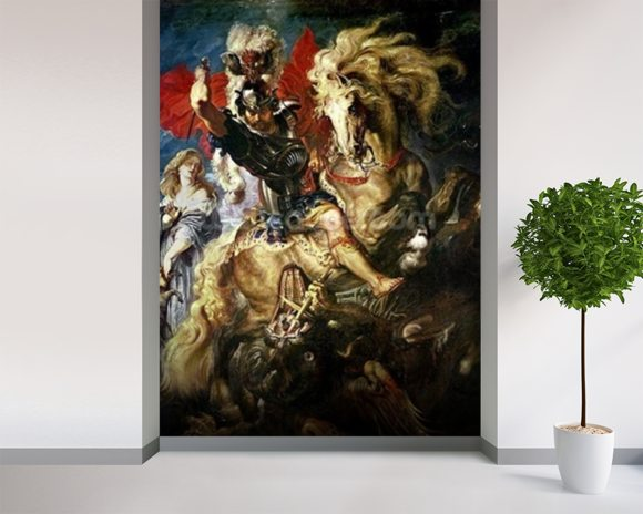 St. George and the Dragon, c.1606 (oil on canvas) wall mural room setting