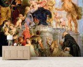 Enthroned Madonna with Child, Encircled by Saints, c.1627-28 (oil on canvas) wallpaper mural living room preview