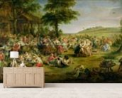 The Kermesse, c.1635-38 (oil on panel) mural wallpaper living room preview