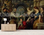 The Medici Cycle: Henri IV (1553-1610) leaving for the war in Germany and bestowing the government of his kingdom to Marie de Medici (1573-1642) 20th March 1610, 1621-25 (oil on canvas) wallpaper mural living room preview