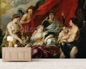 The Birth of Louis XIII (1601-43) at Fontainebleau, 27th September 1601, from the Medici Cycle, 1621-25 (oil on canvas) mural wallpaper living room preview