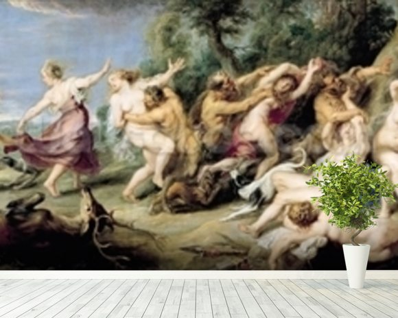 Diana and her Nymphs Surprised by Fauns, 1638-40 (oil on canvas) wallpaper mural room setting