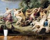 Diana and her Nymphs Surprised by Fauns, 1638-40 (oil on canvas) wallpaper mural kitchen preview