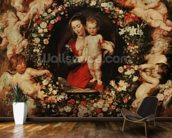 Virgin with a Garland of Flowers, c.1618-20 (oil on panel) wall mural kitchen preview