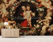 Virgin with a Garland of Flowers, c.1618-20 (oil on panel) wall mural living room preview