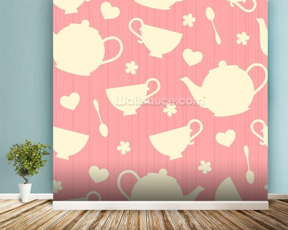 Tea Time - Pink wall mural room setting