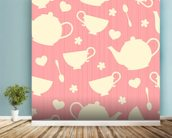Tea Time - Pink wall mural in-room view