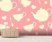 Tea Time - Pink wall mural living room preview
