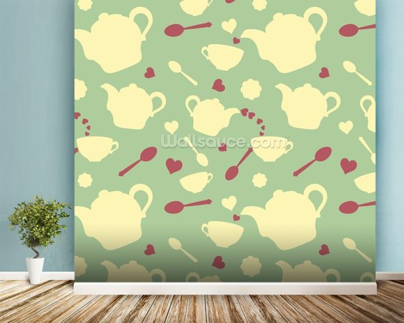 Tea time mural wallpaper room setting