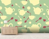 Tea time mural wallpaper living room preview