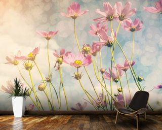 Cosmos Flower with Vintage Tones wallpaper mural