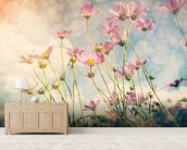 Cosmos Flower with Vintage Tones wallpaper mural living room preview