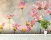 Cosmos Flower with Vintage Tones wallpaper mural in-room view
