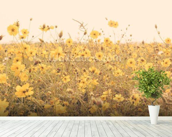 Vintage Yellow Flower Meadow Mural Wallpaper Room Setting